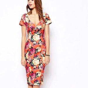 ASOS Orange Floral Bodycon Scuba Midi Dress